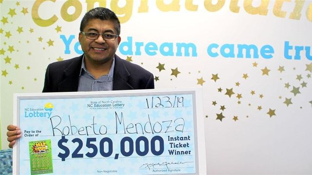 Roberto Mendoza was just paying for his gas. The lottery ticket was a rare impulse buy. (North Carolina Education Lottery)