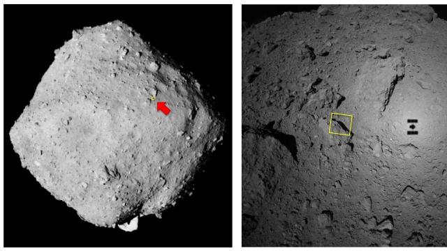 The surface of Ryugu is rockier than scientists had expected. (JAXA)