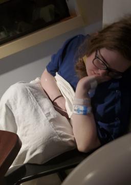 Rachel Hogan stays with her mom in a COVID ward in Greensboro.