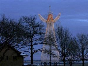 This undated photo from 2006 provided by Brite Ideas Decorating shows a 36-foot glowing angel seen in Fremont, Neb. (AP Photo/Brite Ideas Decorating, Pete Soby)
