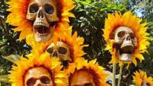 IMAGE: These DIY Sunflower Skulls Are The Ultimate Halloween Decoration