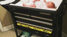 IMAGE: A Dad Made A Changing Table Out Of A Tool Cart And It's As Cute As It Is Practical