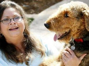 Christi Lopez plays with her Airedale terrier Abbey near her home, Friday, Oct. 27, 2007, in Fremont, Calif. Last year Abbey swallowed a 4.5 inch turkey skewer and then had to endure life-saving emergency surgery. (AP Photo/Dino Vournas)