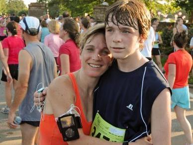 Mom and son Race for the Cure.