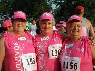 Alice Hobbs, Gail Strickland and Brenda Stevens take part in the 14th annual Komen NC Race for the Cure. (Photo from viewer)