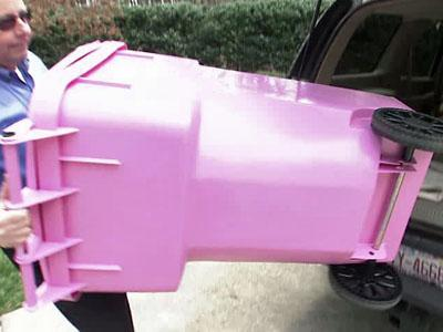 Local nonprofit 1 in 9 is selling pink trash cans in an effort to raise awareness that one in nine women will be diagnosed with breast cancer during their lives.