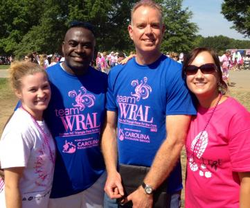 WRAL's Ken Smith and Mike Maze with Race for the Cure participants.