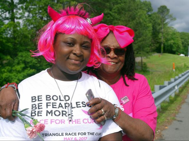 We spotted many smiling faces in the sea of pink a the 2017 Komen Triangle Race for the Cure<br/>Photographer: Jodi Leese Glusco