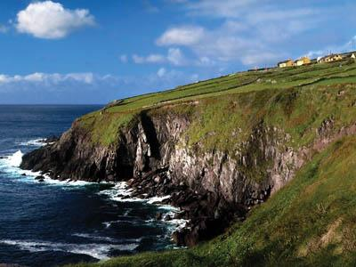 The Atlantic Ocean has carved craggy cliffs along the western Irish coast.