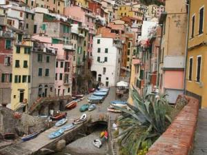 A rainbow of pastels dots the mountainside at Cinque Terre, a group of five islands literally carved into the rocky mountainside.