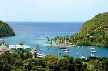 Marigot Bay is a hurricane hole for sailors in St. Lucia in the Caribbean islands