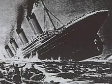 Photo of Titanic sinking