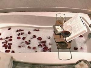 The suite has a bath butler service at turn-down.