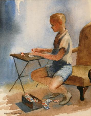Young Bill Leslie, collecting baseball cards in this watercolor by his father, comes clean on his childhood mischief in Morganton.