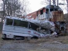 'The Fugitive' train crash wreckage remains