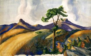 William A. Leslie watercolor of Hawksbill Mountain and Linville Gorge area.  This painting is found exclusively in the book Blue Ridge Reunion.
