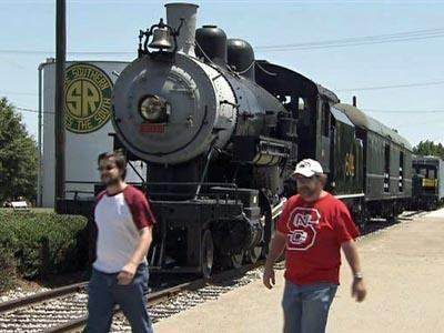 The North Carolina Transportation Museum offers a 25-minute train ride through the 57-acre property.