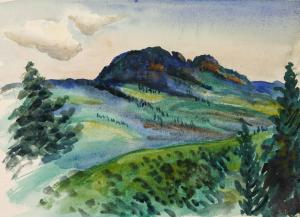 """Grandfather Mountain"" by William Leslie.  Painting featured in book Blue Ridge Reunion."