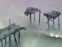 Frisco pier damaged by Hurricane Earl
