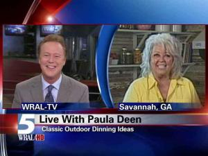WRAL anchor Bill Leslie interviews Paula Deen on June 7, 2011.