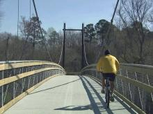 Pedestrian bridge on Neuse River Trail nearly complete