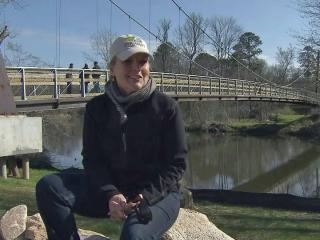 Construction of a 270-foot pedestrian bridge that criss-crosses over the Neuse River along one of Raleigh's newest greenways is nearly complete. It's one of the finishing touches for the Neuse River Trail, which is set to open April 25.