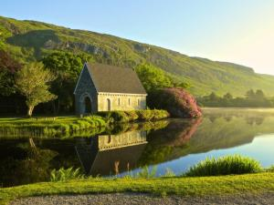 19th century oratory on lake at Gougane Barra in County Cork