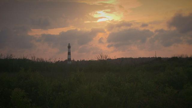 Bodie Island Lighthouse hosts full-moon tours during summer months.
