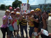 A group of Cubans gathered to welcome Pope Francis to their country.