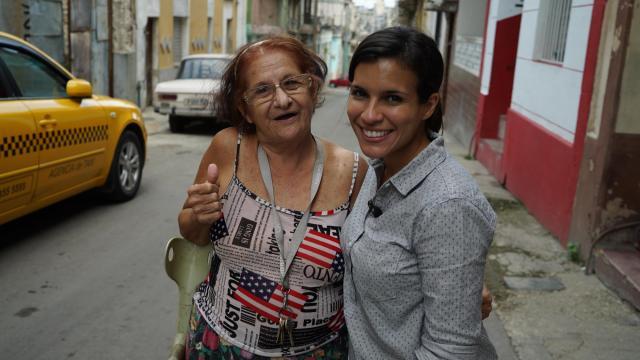 WRAL's Leyla Santiago with Caridad Martinez, of Havana, Cuba.