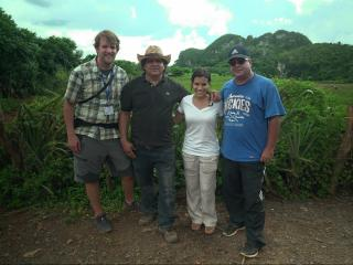 WRAL's Leyla Santiago, photographer Zac Gooch and two Cuban guides in Viñales, a town known for producing some of the best tobacco on the island.