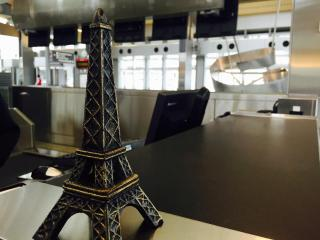 Travelers were greeted by a miniature Eiffel Tower at Raleigh-Durham International Airport, where Delta kicked off direct service to Paris on Thursday.