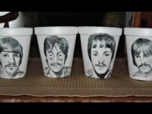 Styrofoam sketches fill artist's coffee breaks