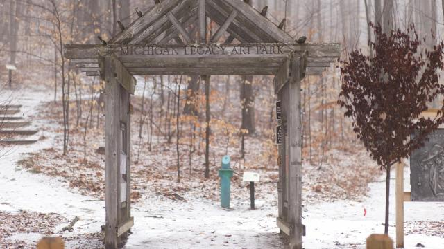 Crystal Mountain's Michigan Legacy Art Park, which provides a trail for visitors, in Thompsonville, Mich., March 18, 2017. The park has over 40 pieces of sculpture throughout a wooded, 30-acre plot threaded by rolling snowshoe trails. (Gary Howe/The New York Times)