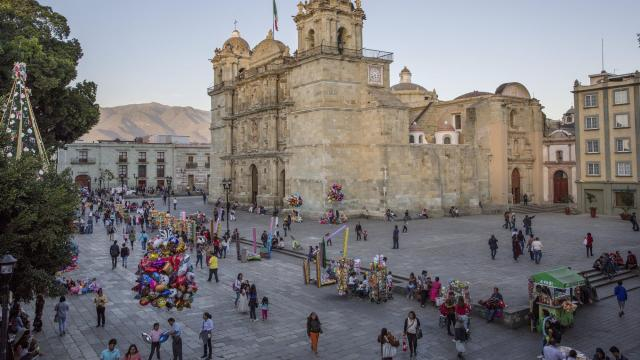 The Cathedral, a popular place to stroll during the Christmas holiday season, in Oaxaca, Mexico, Dec. 14, 2017. Oaxaca has become popular during the holiday season when the temperate weather, the food and the festive spirit attract travelers from near and far. (Brett Gundlock/The New York Times)