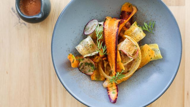 -- PHOTO MOVED IN ADVANCE AND NOT FOR USE - ONLINE OR IN PRINT - BEFORE NOV. 11, 2018. -- In a photo provided by Alexa Fernando, ceviche with carrots, radishes and sal de gusto, at Quetzal, a new spot in Toronto. At Quetzal, a pair of married chefs create a fine-dining experience by using Mexican and local ingredients, and the occasional grasshopper. (Alexa Fernando via The New York Times) -- NO SALES; FOR EDITORIAL USE ONLY WITH NYT STORY TORONTO MEXICAN RESTAURANT BY SHAUN PETT FOR NOV 11, 2018. ALL OTHER USE PROHIBITED. --