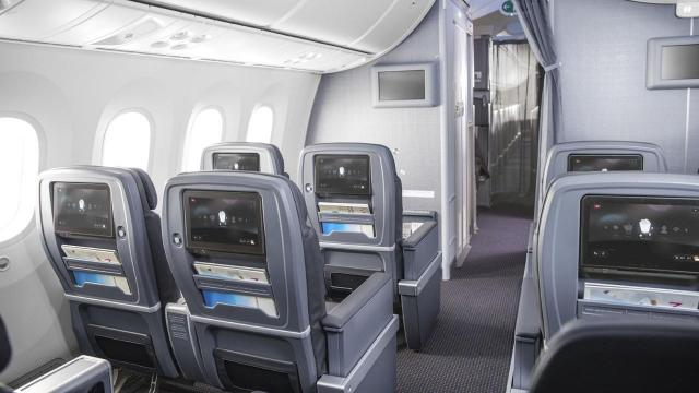 -- PHOTO MOVED IN ADVANCE AND NOT FOR USE - ONLINE OR IN PRINT - BEFORE NOV. 11, 2018. -- In an undated handout image provided by American Airlines, the premium economy section on an American Airlines plane. American Airlines is one of several carriers that have recently added or expanded premium economy offerings on their long-haul flights. (American Airlines via The New York Times) -- NO SALES; FOR EDITORIAL USE ONLY WITH NYT STORY AIRLINES PREMIUM ECONOMY BY ZACH WICHTER FOR NOV. 11, 2018. ALL OTHER USE PROHIBITED. --