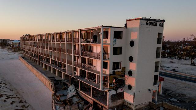 FILE-- An aerial view of the remains of the El Governor Motel in Mexico Beach Fla., Oct. 13, 2018. The Florida Panhandle area was still beginning a long recovery from Hurricane Michael. Recovery will be slow for many of the vacation spots devastated by Hurricane Michael. But there are some options in the area for vacationers looking for a winter getaway. (Johnny Milano/The New York Times)