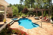 Outdoor living spaces, photo courtesy of Rising Sun Pools