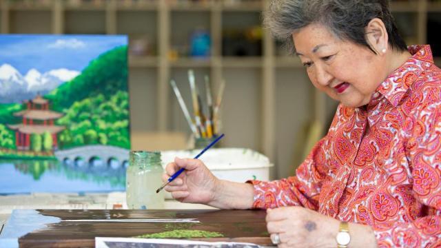 A resident enjoys painting at Galloway Ridge. (Photo Courtesy of Galloway Ridge)