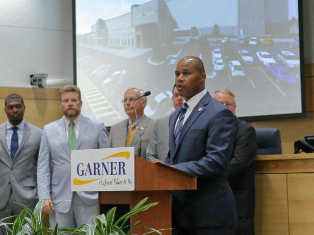 Garner Town Manager Rodney Dickerson announces plans for Amazon to open a distribution center at the former location of the ConAgra plant. (Photo Courtesy of Town of Garner)