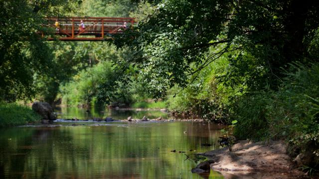 Stretching from Gold Park in west Hillsborough to the eastern downtown district, the Riverwalk has become a cherished staple in the Hillsborough community.  (Photo Courtesy of Visit Hillsborough NC)