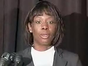 """Crystal Mangum speaks publicly for the first time on Oct. 24, 2008, promoting her book, """"The Last Dance for Grace: The Crystal Mangum Story."""""""