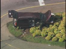 Sky 5 flies over dump truck wreck on Highway 64 in Apex