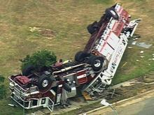 Sky 5 view of overturned truck