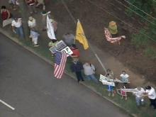 Sky 5 coverage of health reform protest
