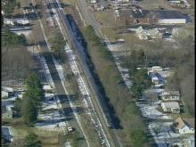 Sky 5 footage of a train, car wreck