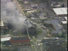 Sky 5 hovers over Chatham County courthouse fire