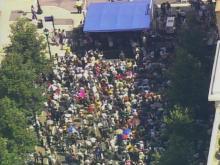 Sky 5 flies over downtown Raleigh rally