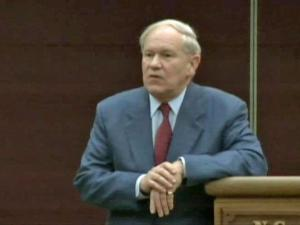 Judge Howard Manning speaks at a teaching conference at North Carolina State University Feb. 21, 2011.